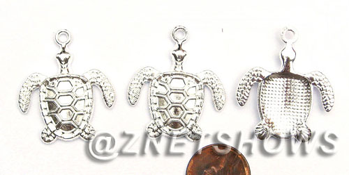 BM Sea Life - Sea Turtle Charms <b>39x34mm</b> Bright Silver Tone sea turtle large    per   <b>11-pc-bag</b>