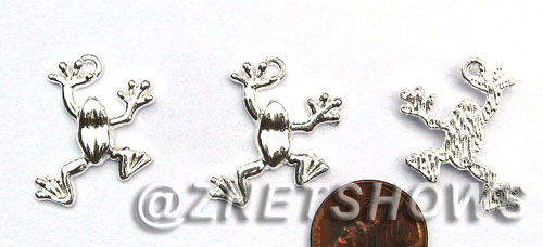 BM Sea Life - Small Frog Charms <b>25x20mm</b> Bright Silver Tone    per   <b>22-pc-bag</b>