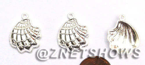 BM Sea Life - Sea Shell Charms <b>22X17mm</b> Bright Silver Tone    per   <b>28-pc-bag</b>