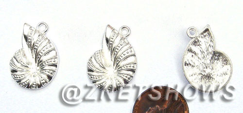 BM Sea Life - Conch Shell Charms <b>23X16mm</b> Bright Silver Tone  per   <b>20-pc-bag</b>