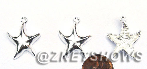 BM Sea Life - Starfish Charms <b>25x21mm</b>Starfish with Bright Silver Tone  per   <b>22-pc-bag</b>