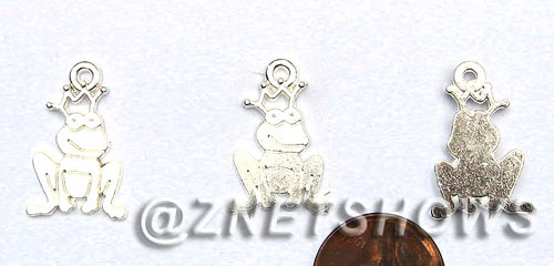 BM Sea Life - Frog Prince Charms <b>22x14mm</b> Bright Silver Tone    per   <b>35-pc-bag</b>