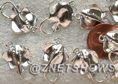 BM Sea Life - Stringray Charms <b>23x14mm</b> Bright Silver Tone stingray  per   <b>28-pc-bag</b>