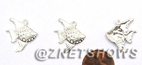 BM Sea Life - Fish Charms <b>20x20mm</b> Bright Silver Tone    per   <b>32-pc-bag</b>