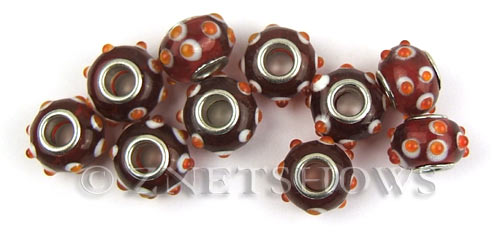 Murano Style Glass  rondelle Beads <b>about 14x10mm</b> Cable style 5 mm large hole-red with orange dots <b>Over  50% OFF!</b> per   <b>10-pc-bag</b>