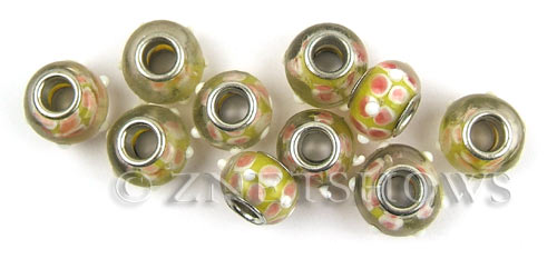 Murano Style Glass  rondelle Beads <b>about 14x10mm</b> Cable style 5 mm large hole-yellow with pink flowers <b>Over  50% OFF!</b> per   <b>10-pc-bag</b>
