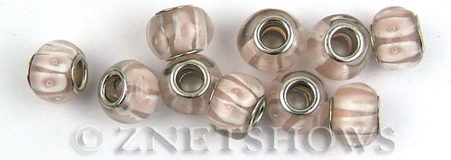Murano Style Glass  rondelle Beads <b>about 14x10mm</b> Cable style 5mm large hole-light pink color with white bandings <b>Over  50% OFF!</b> per   <b>10-pc-bag</b>