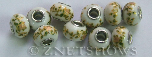 porcelain  rondelle Beads <b>about 15x11mm</b> Cable style 5mm large hole white background with yellow green canes and peach flowers other (50% OFF) per   <b>10-pc-bag</b>