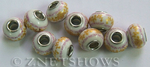 porcelain  rondelle Beads <b>about 15x11mm</b> Cable style 5mm large hole white background with yellow canes and purple laciness other (50% OFF ) per   <b>10-pc-bag</b>