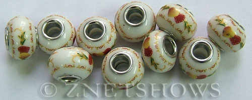 porcelain  rondelle Beads <b>about 15x11mm</b> Cable style 5mm large hole white background with peaches  other (50% OFF) per   <b>10-pc-bag</b>