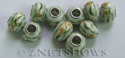 porcelain  rondelle Beads <b>about 15x11mm</b> Cable style 5mm largd with green canes and yellow butterflies 02 other (50% OFF) per   <b>10-pc-bag</b>