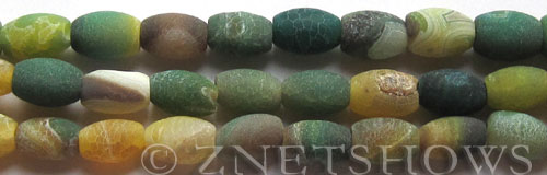 Fire Agate  barrel Beads <b>about 12x8mm</b>  yellow and green color<b> (only $0.90 per   <b>8-in-str </b>)</b> per   <b>10-str-hank</b>