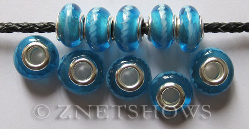 Murano Style Glass  rondelle Beads <b>about 14x10mm</b> Cable style 5mm large hole-baby blue with white circle <b>Up To 50% OFF!</b> per   <b>10-pc-bag</b>