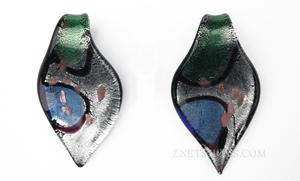 Murano Style Glass Silver foil leaf Pendants <b>about 60x33</b>  -blue and green accents (7)<b>Closeout! WAs:$3.25/pc Retail</b>  per   <b>Piece</b>