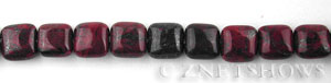 Other Stones & Materials - poppy jasper square puffed Beads <b>8mm</b>   per   <b>15.5-in-str</b>