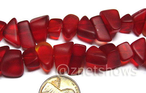 Cultured Sea Glass pebbles Beads <b>about 15-9x10-4mm </b> 05-Cherry Red  about 30 pcs per <b>8-in-str </b>