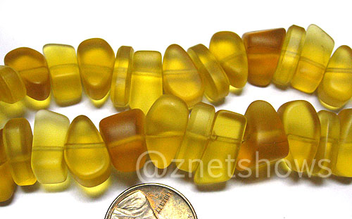 Cultured Sea Glass pebbles Beads <b>about 15-9x10-4mm </b> 16-Desert Gold  about 30 pcs per <b>8-in-str </b>