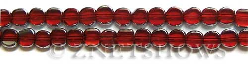 Cultured Sea Glass coin puffed Beads  <b>8mm</b> 05-Cherry Red electroplated with silver on the borders   per  <b>13-in-str</b>