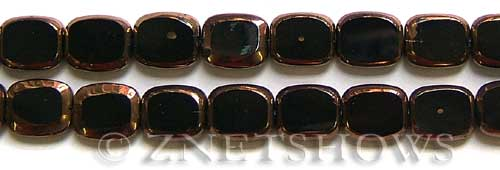 Cultured Sea Glass rectangle puffed Beads  <b>13x11mm</b> electroplated with copper on the borders black color   per  <b>11-in-str</b>