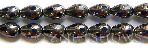 Cultured Sea Glass teardrop round Beads  <b>15x10mm</b>  electroplated with silver faceted royal blue color   per  <b>13-in-str</b>