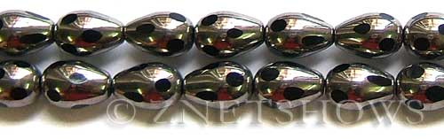 Cultured Sea Glass teardrop round Beads  <b>15x10mm</b>  electroplated with silver faceted black color    per  <b>13-in-str</b>