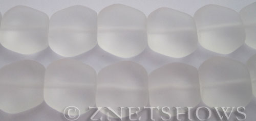 Cultured Sea Glass square nugget Beads  <b>18x17mm</b> 01-Crystal (11-pc-strand)   per  <b>8-in-strand</b>