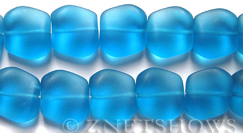 Cultured Sea Glass square nugget Beads  <b>18x17mm</b> 30-Pacific Blue (11-pc-strand)   per  <b>8-in-str</b>