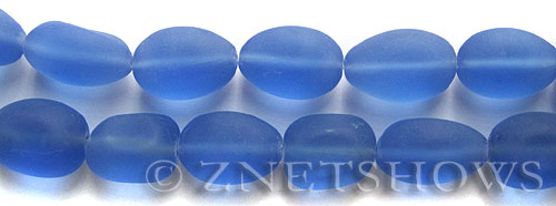 Cultured Sea Glass nugget Beads  <b>18-22mm</b> 31-Light Sapphire (11-pc-str)   per  <b>8-in-str</b>
