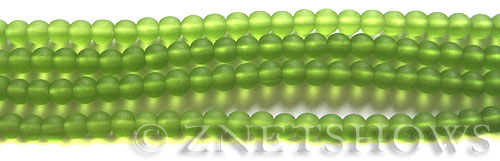 Cultured Sea Glass round Beads  <b>4mm</b> 22-Olive (48 pcs in 8-in-strand)   per  <b>5-strand-hank</b>