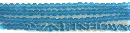 Cultured Sea Glass round Beads  <b>4mm</b> 28-Turquoise Bay (48 pcs in 8-in-strand)   per  <b>5-strand-hank</b>
