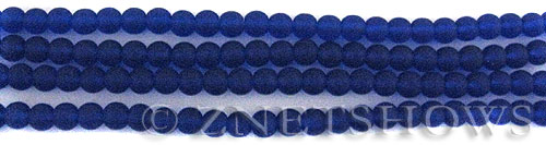 Cultured Sea Glass round Beads  <b>4mm</b> 33-Royal Blue (48 pcs in 8-in-strand)   per  <b>5-strand-hank</b>