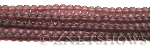 Cultured Sea Glass round Beads  <b>4mm</b> 37-Medium Amethyst (48 pcs in 8-in-strand)   per  <b>5-strand-hank</b>