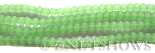 Cultured Sea Glass round Beads  <b>4mm</b> 44-Opaque Spring Green (48 pcs in 8-in-strand)   per  <b>5-strand-hank</b>