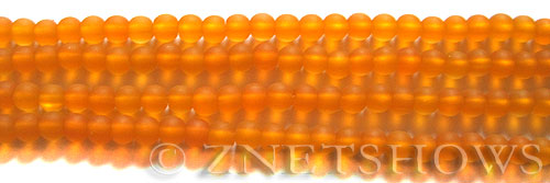 Cultured Sea Glass round Beads  <b>4mm</b> 57-Saffron Yellow (48 pcs in 8-in-strand)   per  <b>5-strand-hank</b>