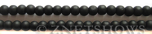 Cultured Sea Glass round Beads  <b>6mm</b> 02-Jet Black (32 pcs in 32 pcs in 8-in-str)   per  <b>5-strand-hank</b>