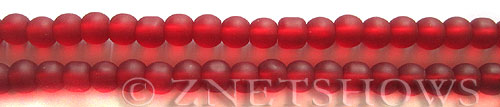 Cultured Sea Glass round Beads  <b>6mm</b> 05-Cherry Red (32 pcs in 32 pcs in 8-in-str)   per  <b>5-strand-hank</b>