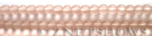 Cultured Sea Glass round Beads  <b>6mm</b> 06-Blossom Pink (32 pcs in 32 pcs in 8-in-str)   per  <b>5-strand-hank</b>