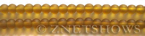 Cultured Sea Glass round Beads  <b>6mm</b> 16-Desert Gold (32 pcs in 32 pcs in 8-in-str)   per  <b>5-strand-hank</b>