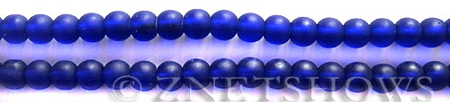 Cultured Sea Glass round Beads  <b>6mm</b> 33-Royal Blue (32 pcs in 8-in-str)   per  <b>5-strand-hank</b>