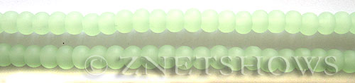 Cultured Sea Glass round Beads  <b>6mm</b> 43-Opaque Seafoam Green (32 pcs in 8-in-str)    per  <b>5-strand-hank</b>