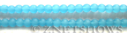 Cultured Sea Glass round Beads  <b>6mm</b> 46-Opaque Blue Opal (32 pcs in 8-in-str)   per  <b>5-strand-hank</b>