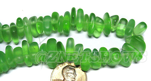 Cultured Sea Glass pebbles Beads <b>about 12x9mm </b> 23-Peridot  large size - about 48 pieces per strand per <b>8-in-str</b>