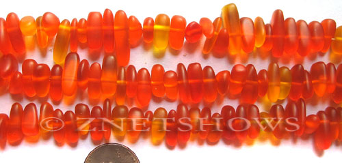 Cultured Sea Glass pebbles Beads  <b>9x6mm</b> 83-Tangerine    per  <b>8-in-str</b>