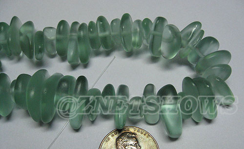 Cultured Sea Glass pebbles Beads <b>about 12x9mm </b> 88D - Darker  Aqua `Coke` bottle Seafoam  (large size about 48 pieces per strand) per <b>8-in-str</b>