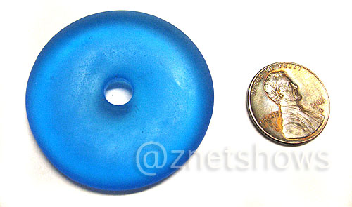 Cultured Sea Glass donut Pendants  <b>40mm</b> 30-Pacific Blue    per  <b>piece</b>