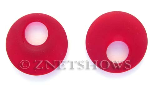 Cultured Sea Glass donut-earring Pendants  <b>20mm</b> 05-Cherry Red earring size   per  <b>14-pc-bag</b>