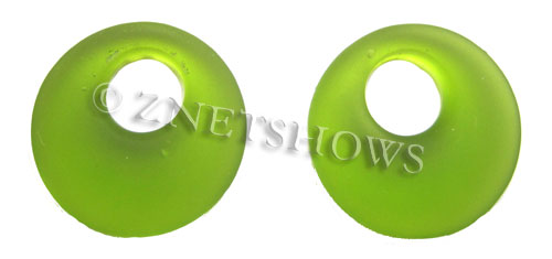Cultured Sea Glass donut-earring Pendants  <b>20mm</b> 22-Olive earring size   per  <b>14-pc-bag</b>