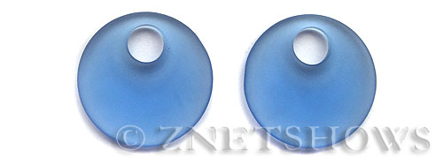 Cultured Sea Glass donut-earring Pendants  <b>30mm</b> 31-Light Sapphire large size   per  <b>piece</b>