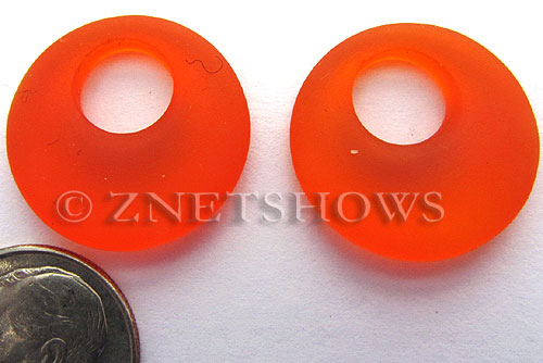 Cultured Sea Glass donut-earring Pendants  <b>20mm</b> 83-Tangerine earring size   per  <b>14-pc-bag</b>