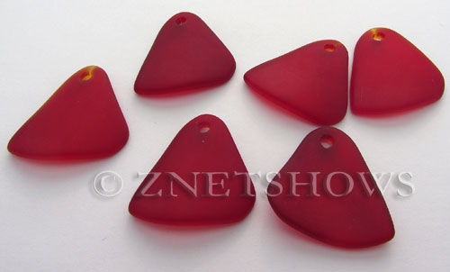 Cultured Sea Glass fancy triangle Pendants  <b>29x25mm</b> 05-Cherry Red    per  <b>10-pc-bag</b>